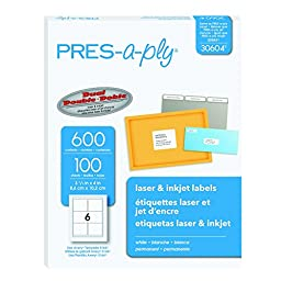 Pres-a-ply 3-1/3 x 4 Inches  Laser Labels, White, 600 Count (30604)