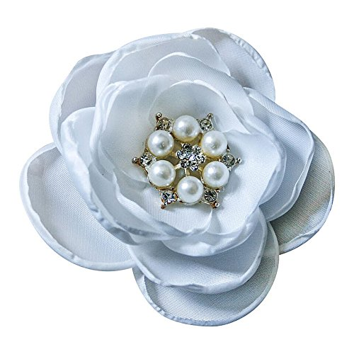 MIA White Satin Flower Rhinestone Pearl Hair Clip Wedding Hair Clip Bridal Hair Clip Bridesmaid Hair Clip First Communion Hairpiece Girls Hair Clip (White)