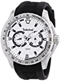 Timberland Juniper Men's Quartz Watch with Silver Dial Chronograph Display and Black Silicone Strap 13854JS/04