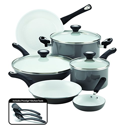 Farberware Purecook Ceramic Nonstick Cookware 12 Piece Cookware Set, Gray