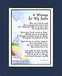 A Gift For A Father, #19, Double-matted 8x10 Poem In Navy/White And Enhanced With Watercolor Graphics.