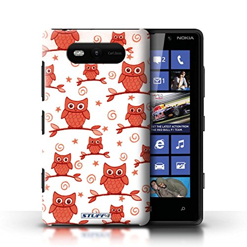 Stuff4 Phone Case / Cover For Nokia Lumia 820 / Red/White Design / Cute Owl Pattern Collection / By Deb Strain / Penny Lane Publishing, Inc.