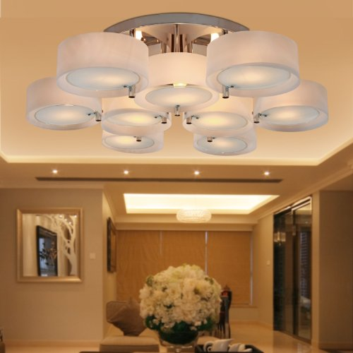 Lightinthebox Acrylic Chandelier With 9 Lights Modern Flush Mount Ceiling Light Fixture Fit For Study Room/Office, Bedroom, Living Room (Chrome Finish) front-773533