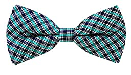 Scott Allan Mens 100% Silk Checkered Plaid Bow Tie - Aqua/Blue/Black