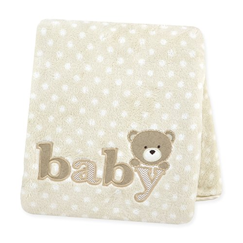 Carter's Plush Fluffy Fleece Blanket, Ecru Dots with Baby Applique/Beige/Tan
