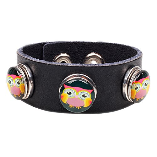 Modern Fantasy Three Circular Colour Owl Buckle Handmade Elaborate Collocation Leather Wrap Bracelet (black)