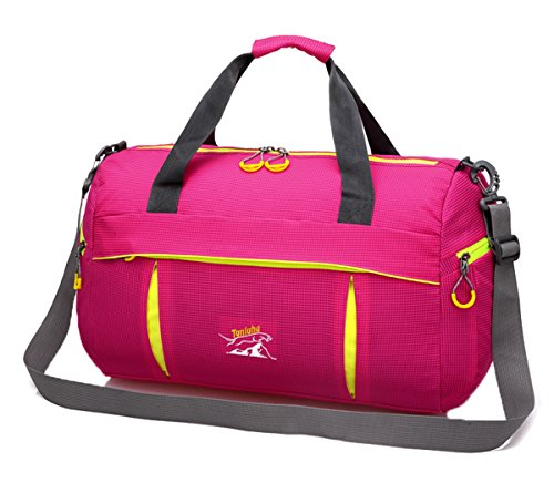 Zerd Packable Multi-Functional High-Capacity Travel Gym Tote Handbag Rose Red