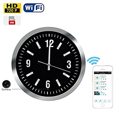 WiFi Clock Hidden Camera Motion Activated DVR 1280x720P HD 13.5inch Luxary Functional Wall Clock 8GB Free Memory 25 Degree View Anlge Downward App based Internet Streaming Surveillance Spy Camera