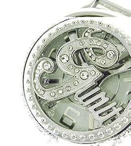 Amazon com jumbo g bling silver hip hop mens crystal spinner watch