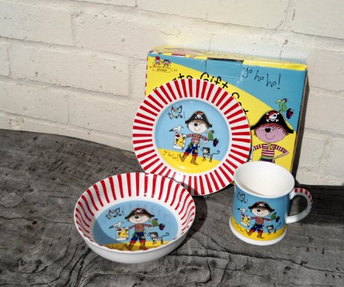 Children's China Plate, Bowl & Drinking Cup - Pirate Gift Set by Rachel Ellen (LP32852)