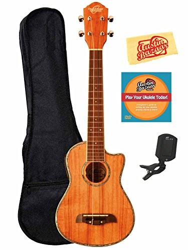Oscar Schmidt By Washburn Ou5Lce Long Neck Concert Acoustic-Electric Ukulele Bundle With Gig Bag, Tuner, Instructional Dvd, And Polishing Cloth