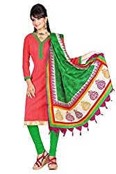 Swagpod Red Bhagalpuri Khadi Unstitched Dress Material SWAG00269