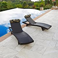 RST Outdoor Delano Wave Chaise Lounger with Bolster Pillow Set Patio Furniture, 2-Pack from Red Star Traders - Lawn and Garden