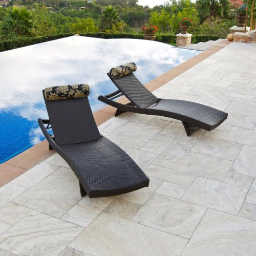 RST Outdoor Delano Wave Chaise Lounger with Bolster Pillow Set Patio Furniture, 2-Pack