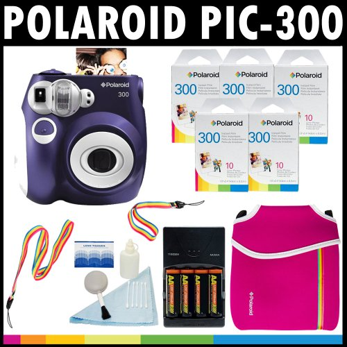 Best Buy! Polaroid PIC-300 Instant Film Analog Camera (Purple) with (5) Polaroid 300 Instant Film Pa...