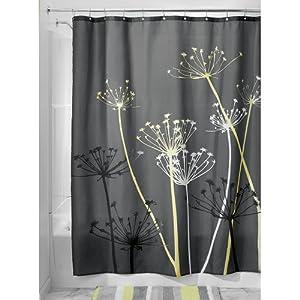 Interdesign Thistle Shower Curtain 72 X 72 Gray Yellow