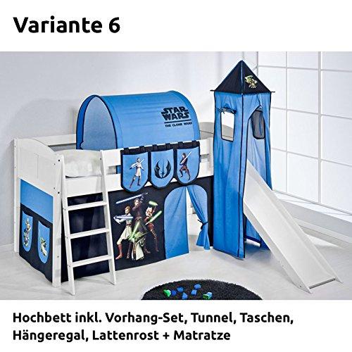 Hochbett Spielbett IDA Star Wars the Clone Wars, mit Turm, Rutsche und Vorhang, weiß, Variante 6 günstig