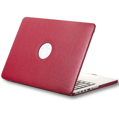#>>  Kuzy - Retina 13-Inch RED LEATHER Hard Case for MacBook Pro 13.3
