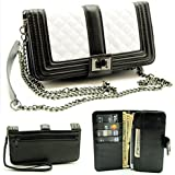 "ZZYBIA® Black and White Crossbody / Wristlet Clutch 2 way Coin Zip Mobile Case Wallet Card Holder with Detechable Long Chain For Apple iPhone 6 Plus / Universal fit most smartphones up to 6.5"" x 3.5"""