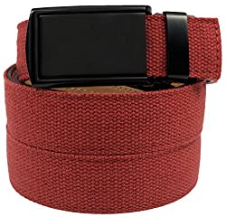 SlideBelts Men's Canvas Belt without Holes - Matte Black Buckle / Red Canvas (Trim-to-fit: Up to 48