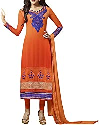 VIDA Women's Georgette Salwar Suit Material (Orange)