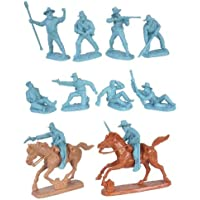 Civil War Wounded Artillery & Cavalry Plastic Army Men: Set Of 10 Light Blue 54mm Figures And 2 Horses 1:32 Scale