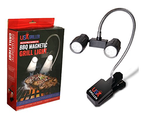 Barbecue Grill Light With Bright LED Lights - Best Weather Resistant, Versatile BBQ Light For Grilling & Cooking - Handle Clip On Mount For All Types Of Grills - Gas, Electric, Smoker Grills (Bbq Light Magnet compare prices)