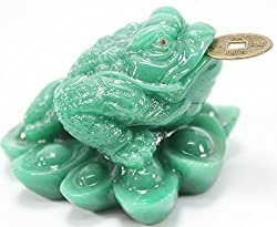 Fortune Coin Green Money Toad/ Frog /Chan Chu - Feng Shui Chinese Charm of Prosperity Decoration Gift US Seller by KT