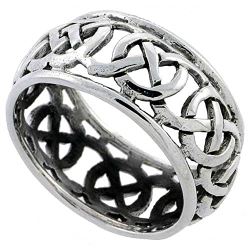 Sterling Silver Celtic Knot Wedding Band Thumb Ring 3/8 Inch Wide, Size 8