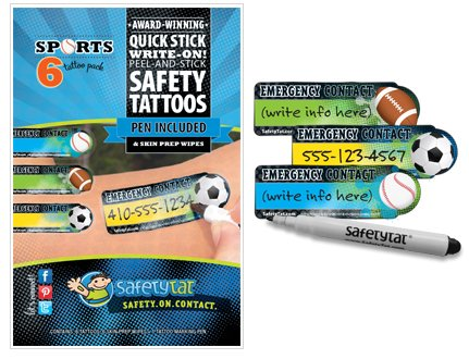 Quick Stick Write-on! Child ID Tattoos (Sports)