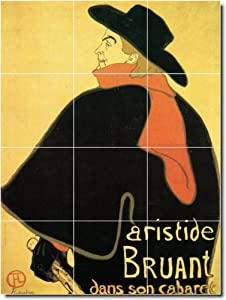 Henri Toulouse-Lautrec Poster Art Backsplash Tile Mural 14. 12.75x17 Inches Using (12) 4.25x4.25 ceramic tiles.