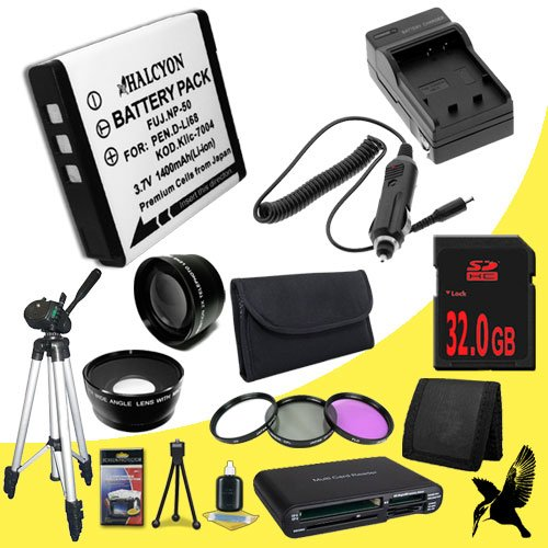Pentax Q 12.4 MP CMOS Digital SLR Camera D-LI68 Lithium Ion Replacement Battery + External Rapid Charger + 32GB SDHC Class 10 Memory Card + 40.5mm 3 Piece Filter Kit + 40.5mm Wide Angle / Telephoto Lenses + Full Size Tripod + Multi Card USB Reader + Memory Card Wallet + Deluxe Starter Kit DavisMAX DLI68 Accessory Bundle (Halcyon Extra Battery compare prices)