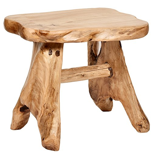 WELLAND Natural Wood Indoor/Outdoor Stool Cedar Garden Bench (Tree Stump Side Table compare prices)