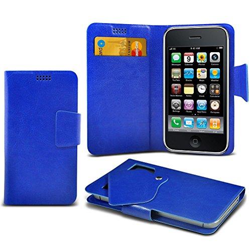 ( blu ) Samsung Galaxy A5 SM-A510F case case sottili di alta qualità in finta pelle Ventosa custodia a portafoglio coprire la pelle con carta di credito/debito asole da mi-Tronixs