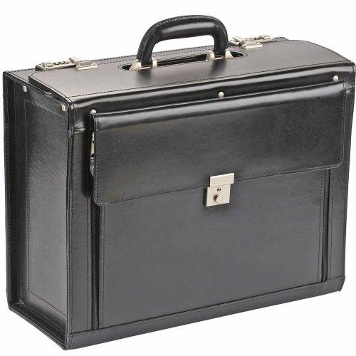 Dermata Pilotenkoffer Leder 44,5 cm (schwarz)