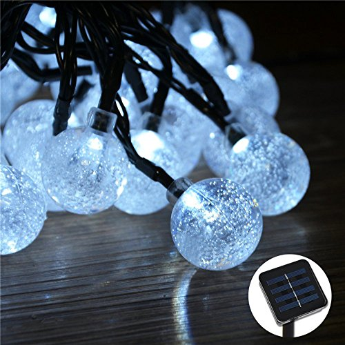 Annengjin® Smart Solar Outdoor String Lights White 20 Led Crystal Ball Solar Powered Globe Fairy Light For Garden Fence Path Landscape Decoration