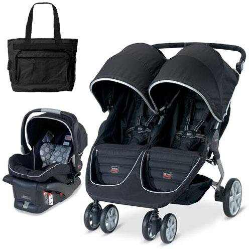 Britax U361819 B Agile Double With Matching Car Seat And Diaper Bag In Black