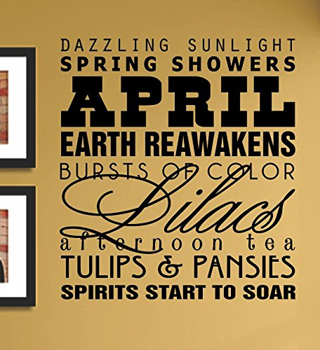 April Dazzling Sunlight Spring Showers Earth Rewakens... Vinyl Wall Art Decal Sticker front-720167