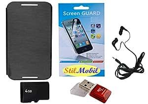 StilMobil Black Flip Cover Kit For HTC Desire 620 - 4GB Memory, Card Reader, EarPhone