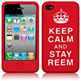 "iPhone 4S / iPhone 4 ""Keep Calm And Carry On"" Silicone Skin Case (Stay Reem Red/White)"