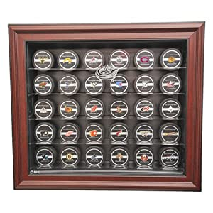 NHL Thirty Puck Cabinet Style Display Case in Mahogany NHL Team: Columbus Blue... by Caseworks