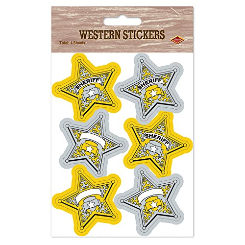 Beistle Sheriff Badge Stickers, 4 3/4 by 7 1/2-Inch, Gold/Silver/White - 1