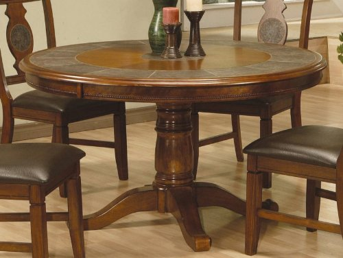 Round Pedestal Dining Table with Tile Inlaid Warm Oak Finish