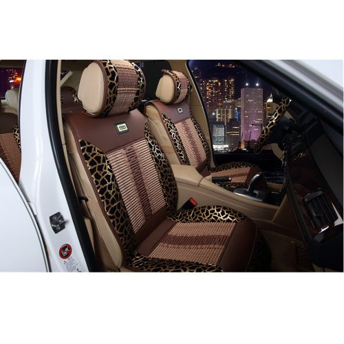 Moonet Car Seat Cushions Covers Full Set 11 Pieces Pu Leather Leopard Striped Style Coffee Brown 11Pcs Fits Honda Civic/ Accord/Crv Toyota Corolla /Camry/Reiz / Crown /Rav4/Vios