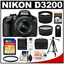 Nikon D3200 Digital SLR Camera & 18-55mm VR DX AF-S Zoom Lens (Black) with 32GB Card + Case + Tripod + 2 Lens Set + Accessory Kit (Refurbished by Nikon USA)
