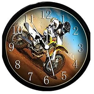 glow in the dark wall clock motocross home
