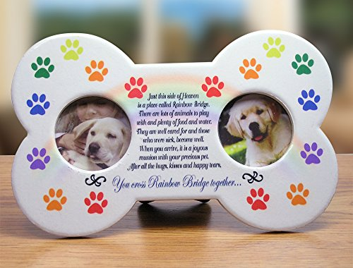 Rainbow Bridge - Dog Bone Shaped Picture Frame with 2 Photo Openings - Sympathy Gift - Pet Loss Gift -Pet Remembrance - Pet (Gifts For Pets)