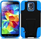 myLife Ultra Black and Deep Sky Blue - Neo Hybrid Series (Built In Kickstand) 2 Piece + 2 Layer Case for NEW Galaxy S5 (5G) Smartphone by Samsung (External Hard Fit Armor With Built in Kick Stand + Internal Soft Silicone Rubberized Flex Gel Bumper Guard)