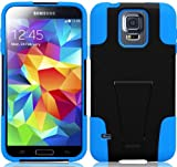 """myLife (TM) Ultra Black and Deep Sky Blue - Neo Hybrid Series (Built In Kickstand) 2 Piece + 2 Layer Case for NEW Galaxy S5 (5G) Smartphone by Samsung (External Hard Fit Armor With Built in Kick Stand + Internal Soft Silicone Rubberized Flex Gel Bumper Guard + Lifetime WArranty + Sealed Inside myLife Authorized Packaging) """"ADDITIONAL DETAILS: This 2 piece Galaxy S5 case comes with a built in horizontal or vertical standing kick stand that is perfect for keeping your cell phone upright while watching movies Netflix YouTube or just regular use."""""""