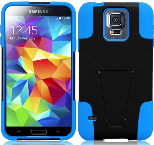Mylife (Tm) Ultra Black And Deep Sky Blue - Neo Hybrid Series (Built In Kickstand) 2 Piece + 2 Layer Case For New Galaxy S5 (5G) Smartphone By Samsung (External Hard Fit Armor With Built In Kick Stand + Internal Soft Silicone Rubberized Flex Gel Bumper Gu
